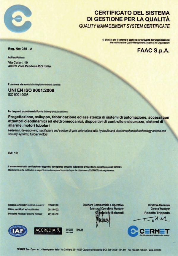 Certifikát FAAC